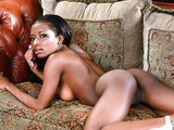 Ebony model on a couch