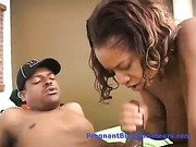 Ebony big tit pregnant whore gives blowjob then is pounded
