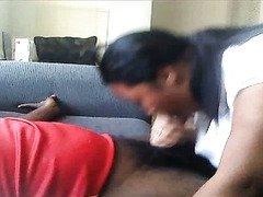 Big black woman makes blowjob