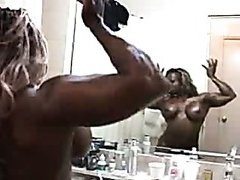 Bodybuilder girl shows his body