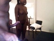 Bubble ass African beauty fucks white tourist in hotel room