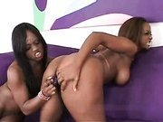 Lesbian black big tit whore fucks sisters pussy with a dildo