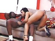 Sexy ebony teen Jennifer sucks and rough fuck by white cock