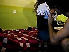 Dark african hottie sucks dick and doggystyle on spycam