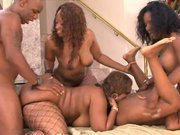Dirty orgy involving superb ebony womans