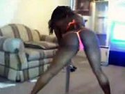 Big Black Booty Stripper dancing in her living room.