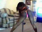 Big Black Booty Stripper dancing in her living room.