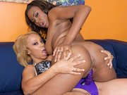 Ebony slut with girlfriends strapon.