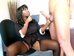 Secretary girl takes a big bone