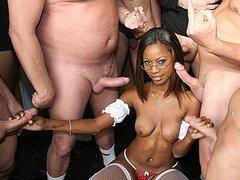 Black porn gang bang video. Porn star name - Hydie Waters