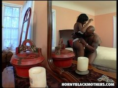 Hot bitch black mom gets a cock in her twat